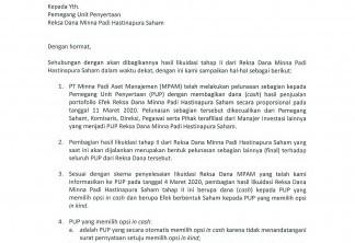 Minna Padi Aset Manajemen - Pengumuman Penyelesaian Likuidasi Reksa Dana Minna Padi Hastinapura Saham